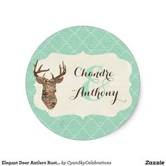 Elegant Deer Antlers Rustic Country Wedding Custom Classic Round Sticker #deer #antlers #rustic #country #wedding #turquoise #woodland #woodsy #natural #nature
