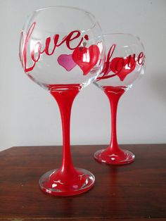 Red Love Hand Painted Wine Glasses by V Designs on Etsy, $18.00