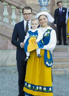 6-6-13   Princess Estelle, Daniel, and Crown Princess Victoria of Sweden attended the National Day Celebrations  in Stockholm