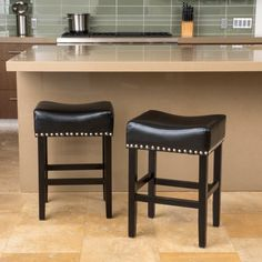 Noble House Lonnie Black Bonded Leather Backless Counter Stool