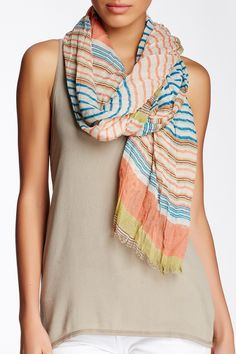 Blue Pacific | Brushed Horizontal Stripe Scarf | Nordstrom Rack