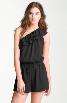 Soprano Ruffled One Shoulder Romper (Juniors) available at Nordstrom