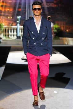 Neon pink suited pants and a nautical style blazer. //