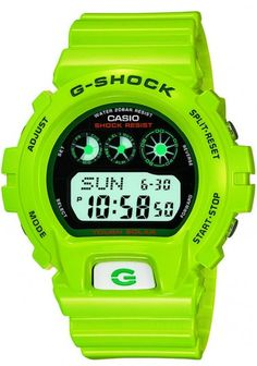 Casio (G-SHOCK) florescent green watch Casio G Shock Watches, Big Watches, Luxury Watches, Cool Watches, Watches For Men, Casio G-shock, Casio Watch, Tactical Clothing, Amazing Watches
