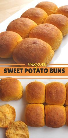 Vegan Sweet Potato Buns, light and fluffy these are perfect as dinner rolls or burger buns (Vegan Thanksgiving) Vegan Foods, Vegan Dishes, Sweet Potato Buns, Sweet Potato Crackers, Sweet Potato Flour, Sweet Potato Dessert, Sweet Buns, Whole Food Recipes, Cooking Recipes