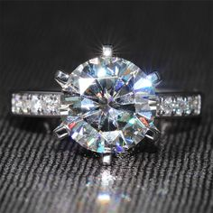 6 Carat ct F Color Moissanite Ring With Moissanite Accents Genuine White Gold #CharlesColvard #SolitairewithAccents