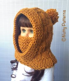Knitting Pattern Dakota Hooded Cowl Instant by nuttypatterns - Baby Products Crochet Baby Hats, Knitted Hats, Nose Warmer, Knitting Patterns, Crochet Patterns, Dakota, Beginner Knitting Projects, Hooded Cowl, Super Bulky Yarn