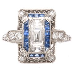Art Deco Diamond Sapphire Platinum Ring | 1stdibs.com