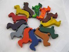 Doxie shaped crayons Fall colors--stocking stuffer-for Midwest Dachshund Rescue
