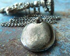 Silver Fingerprint Necklace. Handmade by RenataandJonathan on Etsy