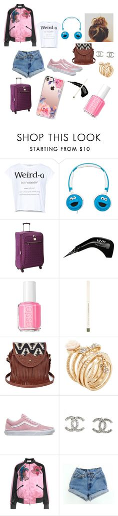 """Traveling outfit from my book ""love the rejected"" on Wattpad"" by micaj on Polyvore featuring Pull&Bear, Sesame Street, Diane Von Furstenberg, NYX, Essie, Sole Society, ALDO, Vans, Chanel and Valentino"