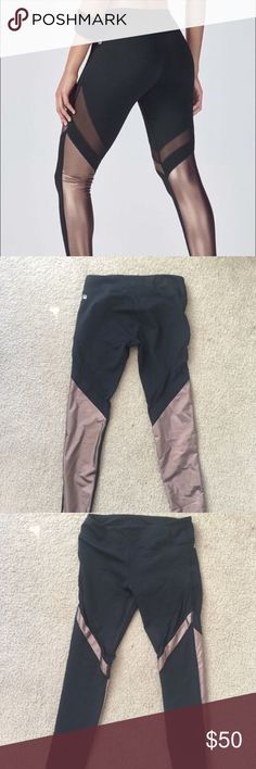 Fabletics Brogan Metallic Legging Moisture-wicking, compression fabric. All way stretch, chafe-free and UPF 50+. Internal waistband pocket for key/card. Mixed media paneling. Fabletics Pants Leggings