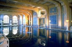 The Roman Pool at Hearst castle is a tiled indoor pool decorated with eight statues of Roman gods, goddesses and heroes.