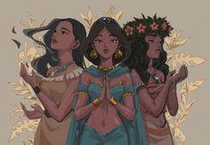 Pocahontas, Jasmine and Moana Disney Princess Art, Disney Fan Art, Disney And Dreamworks, Disney Pixar, Disney Mignon, Animation Disney, Disney Movies, Disney Characters, Disney Princesses