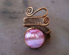 Wire jewelry / wire wrapped jewelry handmade / striped pink agate gemstone / Wire Wrapped Ring / copper jewelry / boho jewelry / rustic on Etsy, $23.00