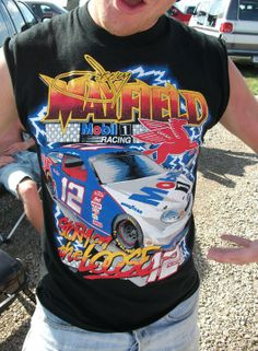 """One of the greatest all-time NASCAR shirts. Jeremy Mayfield, """"Storm On The Loose!"""" #NASCARThrowbackThursday"""