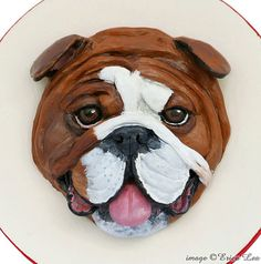 English Bulldog Jewelry Box Polymer Clay Dog Face by NatureVisions