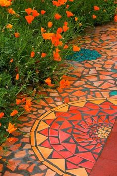 Custom made Mosaic Exterior Accent Floor Finish by Kathy Richardson Designs, Los Altos, CA
