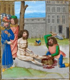 Death of Hanno the Great  Giovanni Boccaccio, De casibus virorum illustrium (French translation by Laurent de Premierfait 'Des cas des ruynes des nobles hommes et femmes'), Bruges ca. 1479-1480 (British Library, Royal 14 E V, fol. 164v). Discarding images.