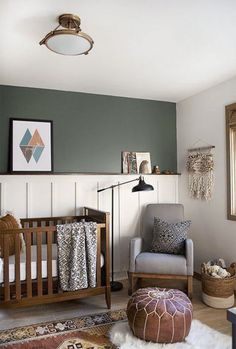 Caitlin's (Surprise!) Nursery/Office MOTO Intro - Emily Henderson Accent Wall Bedroom, Bedroom Art, Diy Bedroom Decor, Home Decor, Green Bedroom Walls, Kid Decor, Bedroom Furniture, Boys Room Curtains, Green Accent Walls
