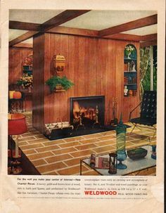 "1961 WELDWOOD PANELING vintage magazine advertisement ""Charter Pecan"" ~ For the wall you make your center of interest -- New Charter Pecan. A tawny, gold-and-brown kind of wood, rich in burls and figures, and prefinished by Weldwood like fine ..."