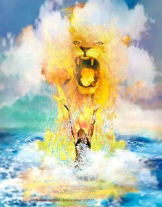 Explosion of worship from the depths of our soul, Lion of Judah roar prophetic art.