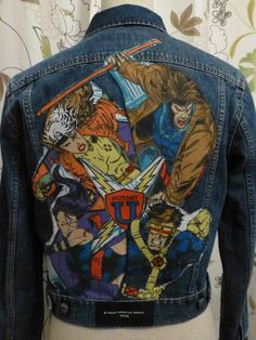 X-Men denim jacket with 1994 vintage fabric by Mary-Jane's Originals