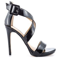 59.00$  Buy here - http://aliojs.worldwells.pw/go.php?t=32581977347 - Black Patent Flirtatious Sandal Sweeping Straps 4 1/2 Inch Heel Women Sandal Cross-tied Beige/Silver Shoes For Ladies Open Toe 59.00$
