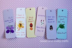 sweet and lovely crafts: thumbprint Valentine Day bookmarks