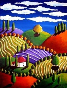 Whimsical Tuscan Colorful Landscape Folk Art by Renie Britenbucher Art Populaire, Naive Art, Whimsical Art, Painting Inspiration, Colour Inspiration, Landscape Art, Canvas Wall Art, Art Drawings, Art Projects