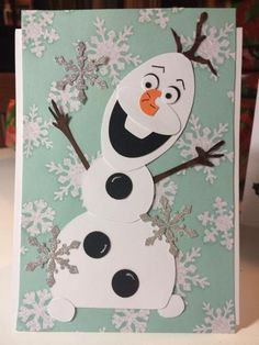Olaf – Frozen fun by Stamperamma – Cards and Paper Crafts at Splitcoaststampers - kids cards Tarjetas Stampin Up, Stampin Up Cards, Simple Christmas Cards, Holiday Cards, Handmade Christmas, Christmas Trees, Frozen Cards, Punch Art Cards, Paper Punch