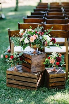 36 Rustic Wooden Crates Wedding Ideas One of the budget-friendly element of country wedding is wooden crates. In our guide of wooden crates wedding ideas, we gathered the most pinned pictures. Wedding Ceremony Ideas, Wedding Aisles, Wedding Aisle Decorations, Wedding Themes, Wedding Centerpieces, Fall Wedding, Outdoor Wedding Aisle Decor, Wedding Venues, Wedding Tips