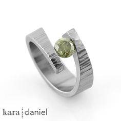 green diamond 'star-crossed' engagement ring | #ring #tensionset #diamond #ethicalwedding #karadanieljewelry