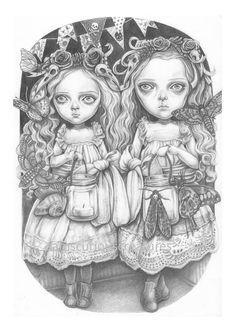 Freya and Faye a signed A5 Giclée art print