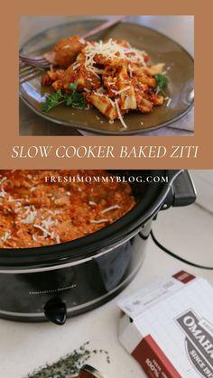 Easier Than Pioneer Woman Baked Ziti: Slow Cooker Baked Ziti | Fresh Mommy Blog Slow Cooker Baked Ziti, Slow Cooker Recipes, Crockpot Recipes, Cooking Recipes, Veggie Recipes, Healthy Dinner Recipes, Baked Ziti With Meatballs, Easy Baked Ziti, Slow Cooker Barbacoa