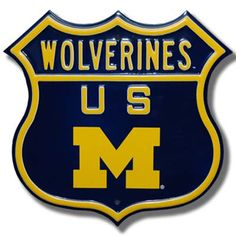 University of Michigan Wolverines Logo NCAA Route Sign | Man Cave Kingdom