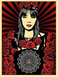 Available for sale from Black Book Gallery, Shepard Fairey, Rose Girl Screen print on paper, 24 × 18 in Obey Prints, Art Obey, Shepard Fairey Art, Shepard Fairy, Rose Girl, Art Graphique, Illustrations, Street Art Graffiti, Art Store