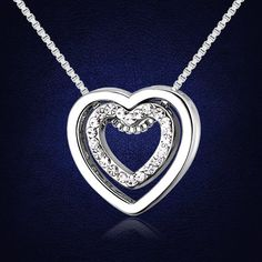 Double Heart Necklace with Swarovski Elements