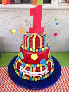 3-Tier Colorful 1st birthday cake!