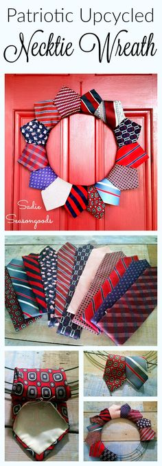 Creating a DIY patriotic July 4th wreath with repurposed thrift store neckties in red white and blue