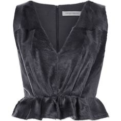 Carolina Herrera V-Neck Top With Peplum ($3,990) ❤ liked on Polyvore featuring tops, carolina herrera, low v neck tops, grey peplum top, carolina herrera top, cut-out crop tops and fur crop top