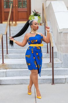 ZAHRA Ankara African Print Asymmetric Tube Fold Over Strapless Midi Dress - Sheila 2020 fashion African Prom Dresses, African Dresses For Women, African Fashion Dresses, African Attire, African Wear, African Style, African Women, Fashion Models, Curvy Fashion