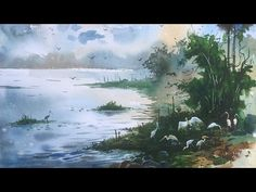 Watercolor Lesson - How to paint birds in a landscape with Watercolor by Prashant Sarkar at Powai Lake, Mumbai, India. Camlin artist Watercolor and chitrapat. Watercolor Lesson, Watercolor Paintings, Watercolour Tutorials, Plein Air, Watercolors, Landscape, Drawings, Videos, Artwork