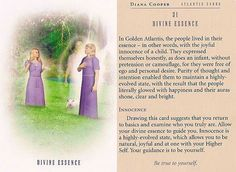 """""""Divine Essence"""" - Be true to yourself - Atlantis Card – Diana Cooper Diana Cooper, Prayer For Guidance, Intuitive Empath, Animal Spirit Guides, Daily Tarot, Divine Light, Angel Cards, Bible Knowledge, Oracle Cards"""