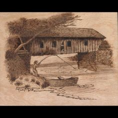 Gone Fishing.pyrography (woodburned) on 8 x 10 inch birch plywood. Wood Burning Stencils, Wood Burning Crafts, Wood Burning Patterns, Wood Burning Art, Wood Crafts, Landscape Pencil Drawings, Pyrography Patterns, Gone Fishing, Covered Bridges