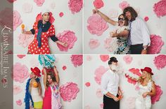 Photo booth shots (background and flowers made out of butcher paper + props + camera)