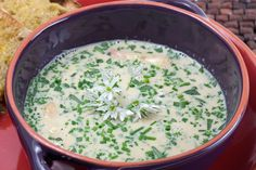 White asparagus soup is especially popular in Germany and Scandinavia in the spring. It used to served at confirmations and weddings. It makes for a delicious lunch if served with some good crusty sourdough bread.