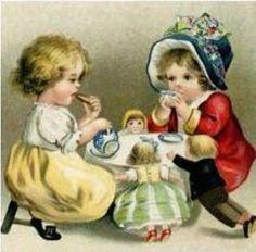 victorian tea party clip art - get domain pictures Vintage Tea, Vintage Cards, Vintage Postcards, Vintage Images, Vintage Labels, Victorian Tea Party, My Cup Of Tea, Vintage Children, Children Books