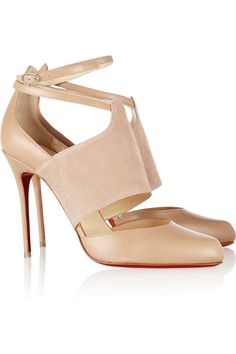Christian Louboutin|Trotter 100 leather and suede pumps|NET-A-PORTER.COM