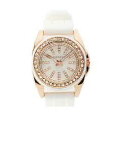 Rhinestone Rubber-Link Watch: Charlotte Russe